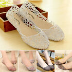 Womens Soft Crystal Shoes Jelly Hollow Sandals Ballerina Ballet Flat Pumps Shoes