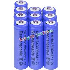 10x AA battery batteries Bulk Nickel Hydride Rechargeable NI-MH 3000mAh 1.2V Blu