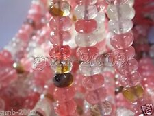 5x8mm Faceted Multicolor Watermelon Tourmaline Gemstone Abacus Loose Beads 15""