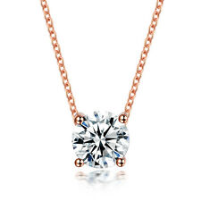 1.25CT Round Crystal CZ Pendant Necklace Link Chain Women Gold Plated Jewelry