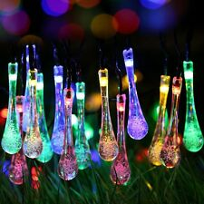 Solar Outdoor String Lights 20ft 30 LED Water Drop Fairy Waterproof Party Decor