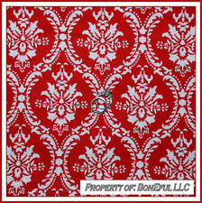 BonEful Fabric FQ Cotton Quilt Red White Damask Flower Toile Swirl L Scroll Duet