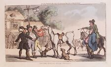 OLD PRINT ETCHING DR SYNTAX by ROWLANDSON c1812 SELLS HORSE CARTOON by ACKERMANN