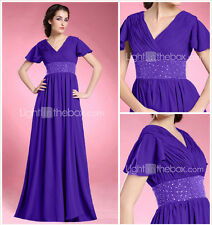 A-line Formal Evening Gown - Short Sleeve Floor-length Size 6 100% Polyester