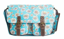 LYDC Oilcloth Mini Satchel Cross Body Retro Floral Buckle College School Womens