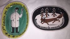 Vintage Small Art Plate Lot Of 2 French Fox Wine Doctor France Porcelain Painted