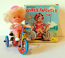 Mechanical Girls Tricycle Wind Up Tin Litho Toy for Boys & Girls 3+