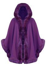 New Women Celebrity Faux Fur Hooded Wrap Puncho Cape Ladies Mantle Coat 8 - 18