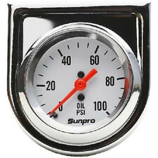 Sunpro Gauge, StyleLine, Oil Pressure, 0-100 psi, 2 in., Analog, Mechanical