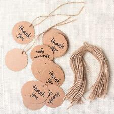 50X  Kraft Paper Hang Tags Wedding Party Favor Punch Label Price Gift Cards