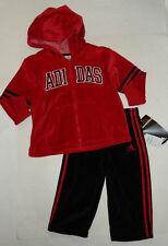 NEW ADIDAS 2PC 18 MONTHS SET TRACKSUIT RED BLACK VELOUR AUTH