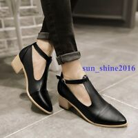Womens Ladies Pointed Toe Shoes Ankle Strap Buckle Block Mid Heels Pumps Oxfords