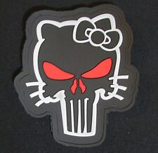 3D PVC GLOW PUNISHER SKULL GITD HELLO KITTY OPS RED VELCRO® BRAND FASTENER PATCH