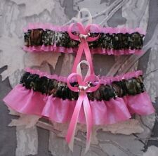 Mossy Oak Hot Pink Wedding Garters Camouflage Camo Deer Charms Hunting Hunter
