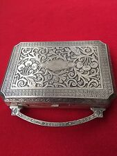 E.A.M. SILVER COMPACT, VANITY PURSE FOR POWDER, ROUGE, LIPSTICK, CIGARETTES
