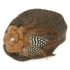 Winter Hand Knit Feathers Flower Hat Cap Fascinator Headband Head Piece Brown