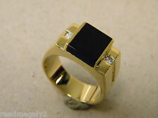 Men's Square Black Onyx 2 CZ Yellow Gold Plated Ring New Size 10 Free Shipping