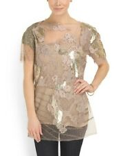 NEW with Tag $5000 VALENTINO Beige Lace Made In Italy Beaded Tulle Top size 8