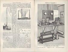 Lithografie 1905: DRAHTLOSE TELEGRAPHIE. System Braun Siemens Halske Hoch-Bahn