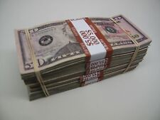 Movie Prop Money, (5) $5,000 Dollar Bundles $25,000.00 pack! With Filler Paper