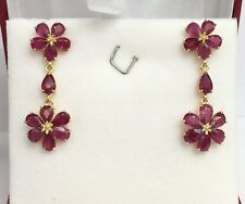 14k Solid Yellow Gold Flower Dangle Stud Earrings, Natural Ruby 4.20TCW