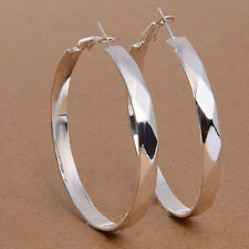 """New Pretty Contemporary Silver Plated Faceted Wide Band Round 2"""" Hoop Earrings"""
