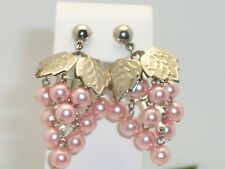 Articulated Soft Pink Faux Pearl Grape Cluster Dangle Earrings Pierced