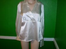 AB STUDIO LIQUID GLOSSY WET LOOK SATIN SHIRT TOP DRESS SUIT BLOUSE M 10