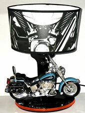 HARLEY DAVIDSON Motorcycle Table Lamp with Shade Black Blue Nightlight & Sound