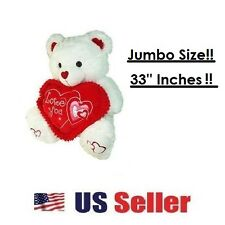"Giant Large Jumbo Teddy Bear in White w/ ""I Love You"" Heart For Valentines NEW!"