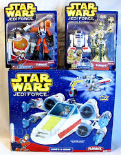 New X-WING Vehicle + Luke Skywalker R2D2 C-3PO FIGURES Star Wars JEDI FORCE 2004