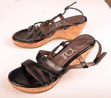YOU by Crocs Womens Heels Strappy Wedge Cork Black Leather Sz 7 M