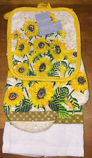 Sunflower Kitchen Set Towel Oven Mitt Potholder New