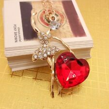 Fashion gold plated color crystal dancing heart sweater chain long Necklace CC32