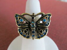 HEIDI DAUS Blue MONARCH BUTTERFLY Ring sz 8   NEW