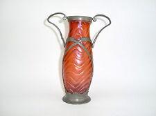 Rare Art nouveau Vase avec Tenue de l'étain W. Kralik Bohême À 1900 irisé