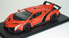 Kyosho 1/43 Lamborghini Veneno Diecast Replica 05571OR Orange /Red Line