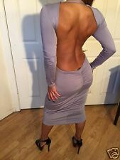 Sexy Bodycon Gray Long Sleeved Open back Party Dress W/ Deep Chest  S