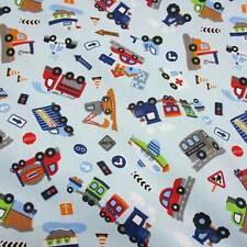 Stoffa Al Metro Tessuto cotone blu chiaro Grarage allover per bambini Aeromobili