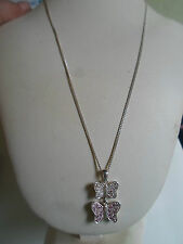 "925 Silver  Necklace 17"" With 2 Butterfly Pendant Great Gift Idea Xmas, Birthday"