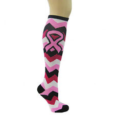 CHEVRON PINK RIBBON BREAST CANCER RELAY FOR LIFE KNEE SOCK SPORTS ATHLETIC WALK