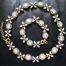 NEW Crystal Flower Collar Statement Necklace Bracelet SET Wedding Dress BARGAIN