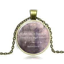 Vintage words Letters Cabochon Photo Bronze Glass Chain Pendant Necklace BAB065