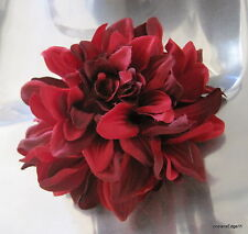"4.5"" Variegated Fire Red,Poly Silk Dahlia Flower Hair Clip,Pin Up,Updo,Party"