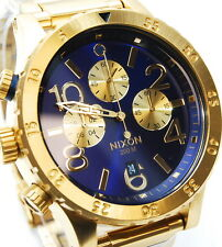 Nixon Mens Watch 48-20 Chrono Gold Blue Sunray A486-1922 A4861922 100% Authentic