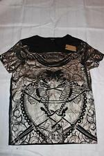 KSUBI Mens Metallic Bronze LATIN SKULLS VIRGINEM T SHIRT New $140 S