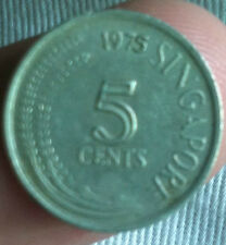 1975 Singapore 5 cents Coin  very nice details ! Key date scare!