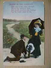Postcard- BERTIE IN THE COUNTRY:ONE DAY A LASS WAS WORRIED ABOUT HER, With Stamp