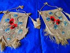 2 Beautiful Poppy & Corn Flower  Embroidered Victorian Fire Screens C.1880