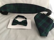 Tartan Deal Page Boy-Boys Black Watch Polyester Bow tie + Cummerbund & Hanky Set